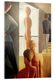 Acrylglas print  Five men in the room - Oskar Schlemmer