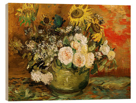 Hout print  Roses and sunflowers - Vincent van Gogh