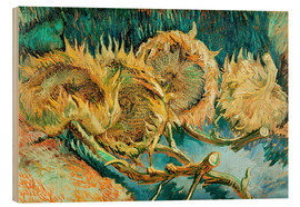 Hout print  Four Cut Sunflowers - Vincent van Gogh