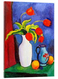 Acrylglas print  Red tulips in white vase - August Macke