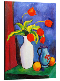 Aluminium print  Red tulips in white vase - August Macke