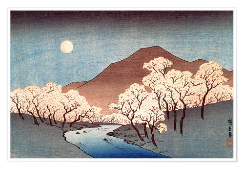 Premium poster River landscape with rising moon