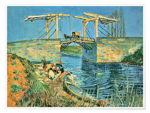 Premium poster The bridge of Langlois in Arles with washerwomen