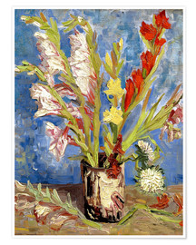 Premium poster Vase with gladioli and China asters