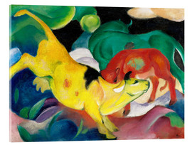 Acrylglas print  Cows - yellow, red, green - Franz Marc