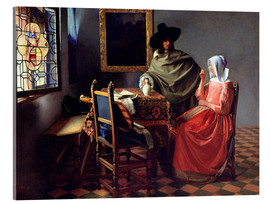 Acrylglas print  Lord and lady at the wine - Jan Vermeer