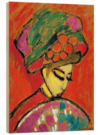 Hout print  Young Girl in a Flowered Hat - Alexej von Jawlensky