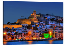 Canvas print  Old town of Ibiza at night - HADYPHOTO