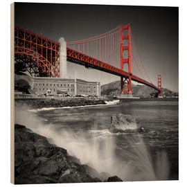 Hout print  Golden Gate Bridge Fort Point - Melanie Viola