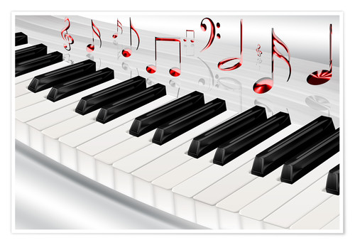 Premium poster Piano keyboard with notes