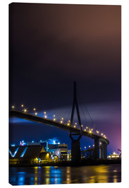 Canvas print  Köhlbrandbrücke Hamburg harbor at night - Dennis Stracke
