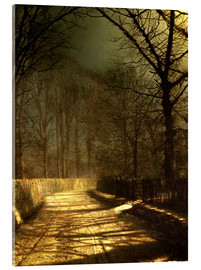 Acrylglas print  A Moonlit Lane, with two lovers by a gate - John Atkinson Grimshaw