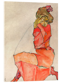 Acrylglas print  Kneeling Female in Orange-Red Dress - Egon Schiele