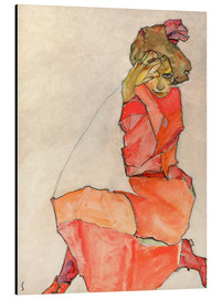 Aluminium print  Kneeling Female in Orange-Red Dress - Egon Schiele