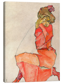 Canvas print  Kneeling Female in Orange-Red Dress - Egon Schiele