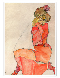 Premium poster  Kneeling Female in Orange-Red Dress - Egon Schiele