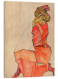 Hout print  Kneeling Female in Orange-Red Dress - Egon Schiele