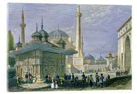 Acrylglas print  Fountain and Square of St. Sophia, Istanbul - William Henry Bartlett