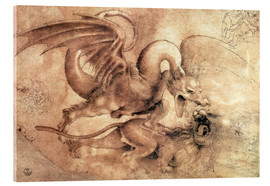 Acrylglas print  Fight between a Dragon and a Lion - Leonardo da Vinci
