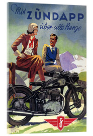 Acrylglas print  With Zündapp over the hills (German) - Advertising Collection