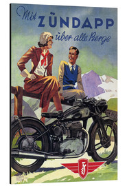 Aluminium print  With Zündapp over the hills (German) - Advertising Collection