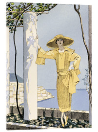 Acrylglas print  Amalfi, illustration of a woman in yellow dress, 1922 - Georges Barbier