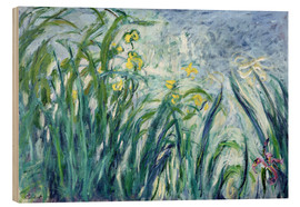 Hout print  Yellow and Purple Irises - Claude Monet