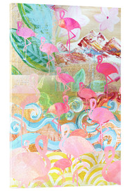 Acrylglas print  Flamingo Collage - GreenNest