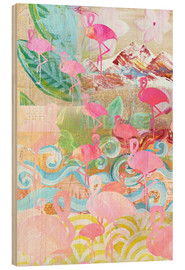Hout print  Flamingo Collage - GreenNest