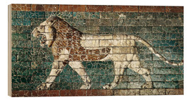 Hout print  Lion mosaic at the temple of Babylon