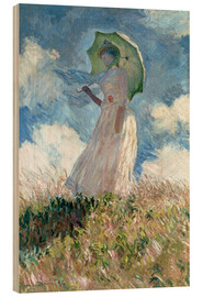 Hout print  Woman with parasol turned to the left - Claude Monet
