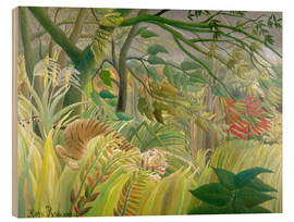 Hout print  Tiger in a tropical storm - Henri Rousseau