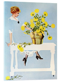 Acrylglas print  Housekeeper with bouquet - Clarence Coles Phillips
