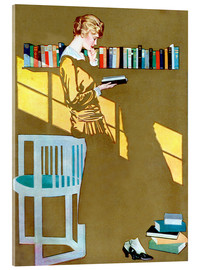 Acrylglas print  Reading by the bookshelf - Clarence Coles Phillips