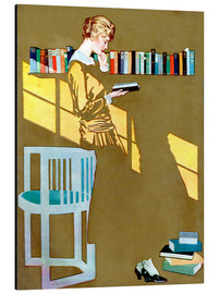 Aluminium print  Reading by the bookshelf - Clarence Coles Phillips