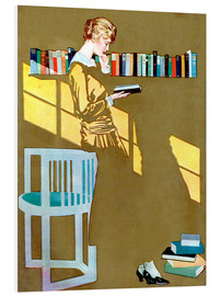 PVC print  Reading by the bookshelf - Clarence Coles Phillips