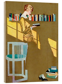 Hout print  Reading by the bookshelf - Clarence Coles Phillips