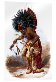 Acrylglas print  Indians with blue feathered headdress - Karl Bodmer
