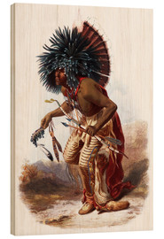 Hout print  Indians with blue feathered headdress - Karl Bodmer