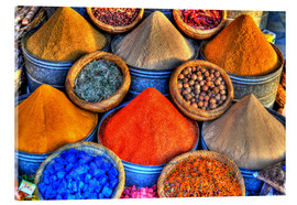 Acrylglas print  Colorful oriental spices on the bazaar in Marrakech - HADYPHOTO