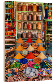 Hout print  Spices on a bazaar in Marrakech - HADYPHOTO by Hady Khandani