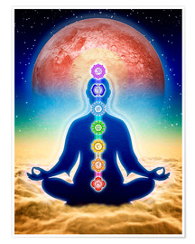 Premium poster  In meditation with chakras - red moon edition - Dirk Czarnota