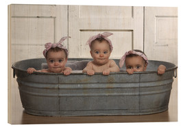 Hout print  Cheeky Babies in the bath - Eva Freyss