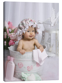 Canvas print  Baby in flowery bucket - Eva Freyss