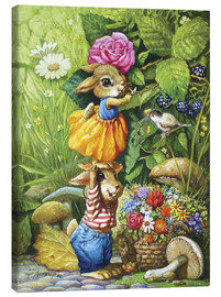 Canvas print  Rabbits picking flowers - Petar Meseldzija