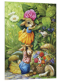 PVC print  Rabbits picking flowers - Petar Meseldzija