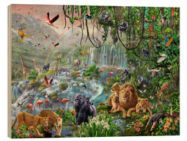 Hout print  Waterval in de jungle - Adrian Chesterman
