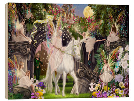 Hout print  Fairy Queen with unicorn - Garry Walton