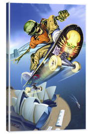 Canvas print  Skateboarding over Opera House - Extreme Zombies
