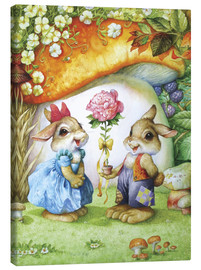Canvas print  Rabbits and rose - Petar Meseldzija